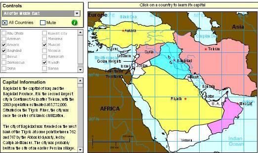 Games with interactive maps to learn geography of the Middle East